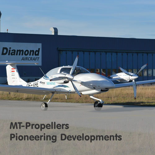 MT-Propellers Pioneering Developments - Photo of Multi Engine Hybrid Powered Electric Diamond Twin-Engine Aircraft MT-3-blade Propeller